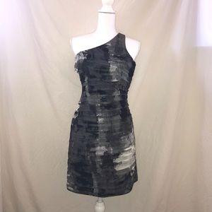 Aqua Black/Gray One Shoulder Cocktail Dress XS